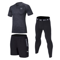 3 Pieces Quick Dry Sports Suit Men Running Sets 2017 Basketball Compression Underwear Gym Fitness Training