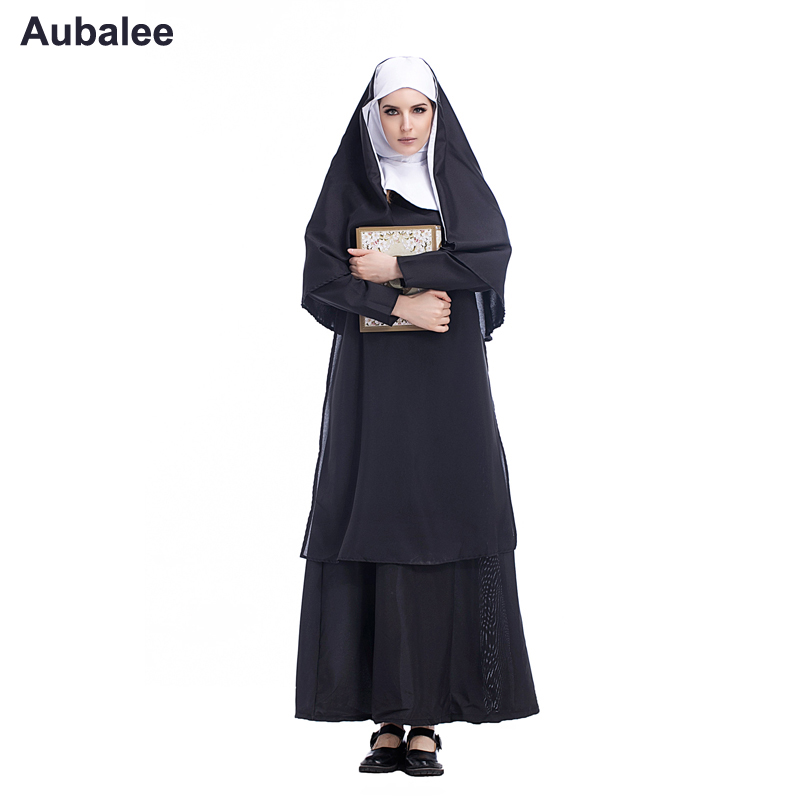New Virgin Mary Nuns Costumes <font><b>Sexy</b></font> Women Long Black Hood Nuns Costume Arabic Religion Monk Vampire Witch Cosplay Party <font><b>Halloween</b></font> image