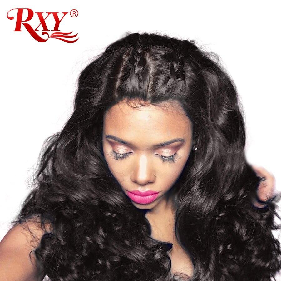 Rxy Glueless Синтетические волосы на кружеве Человеческие волосы Искусственные парики для Для женщин 150% плотность бразильский Человеческие волосы Синтетические волосы на кружеве Искусственные парики Средства ухода за кожей волна парик черный-Remy