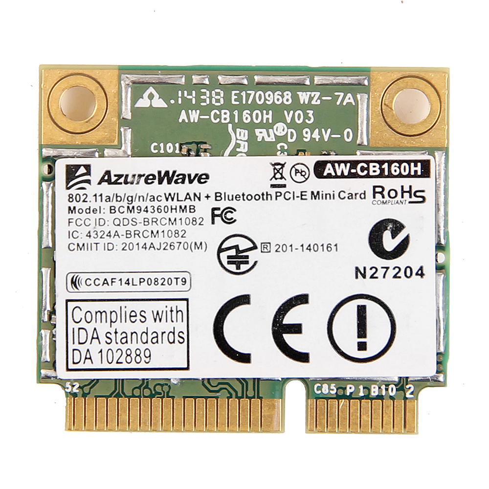 Dual band 1300Mbps Broadcom BCM94360HMB Mini PCI Express Wireless Wifi Card 802.11ac Bluetooth 4.0AW-CB160H 3x MHF4 Antennas