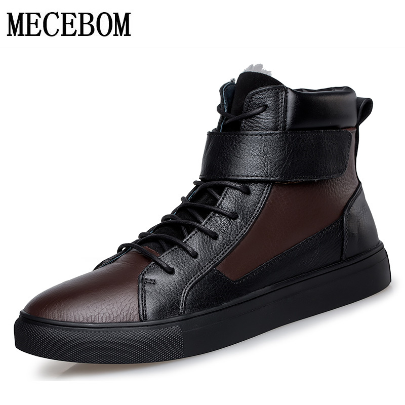 Men boots winter big size 48 genuine leather boots plush warm men casual shoes lace-up ankle boots footwear moccasins 5853m кронштейн arctic w1a oraeq ma005 gb