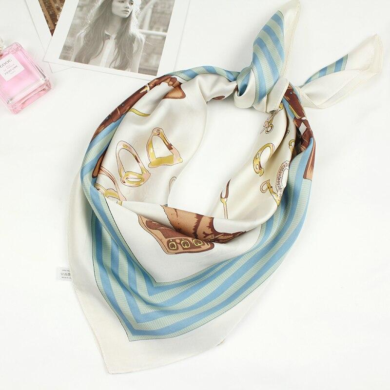 70*70cm Luxury Brand Women Silk Scarf Female European Style Print Square Scarves Summer Shawls For Ladies Horse Pattern Design