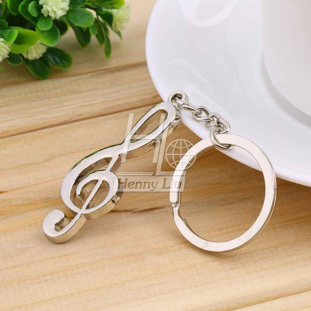 Key Ring Silver Plated Musical Note Keychain For Car Metal Music Symbol Stainless Steel Metal Treble Clef Symbol Gift Bags Dec