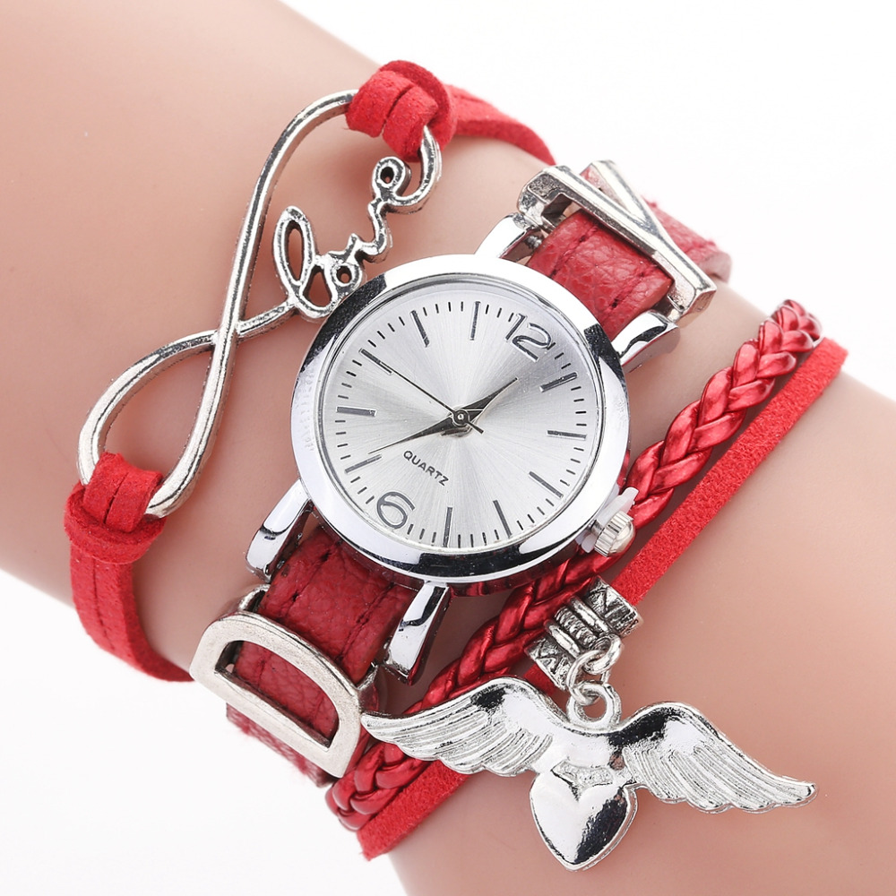 Duoya Brand Watches For Women Luxury Silver Heart Pendant Leather Belt Quartz Clock Ladies Wrist Watch Bracelet Zegarek Damski