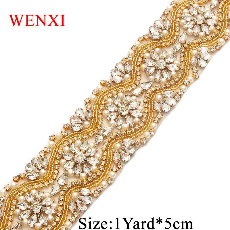 WENXI 1YARD Bridal Hand Made Beaded Sewing Silver Crystal Rhinestone Applique Trim For Wedding Dresses DIY Iron On WX812