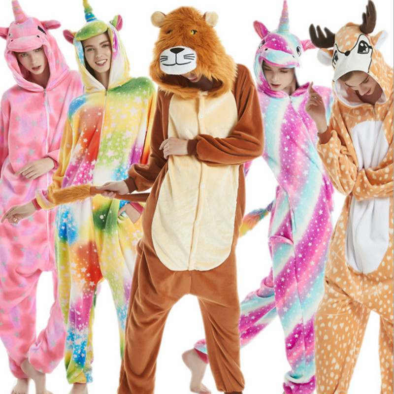 Adult's Sika Deer Unicorn Tiger Lion Fox Flannel Kigurumi Cosplay Costume Onesie Pajama Halloween Carnival Masquerade Party