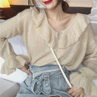 GRUIICEEN flare sleeve casual sweater women V neck ruffle knitted pullovers and sweater winter woman 2018 new GY2018314