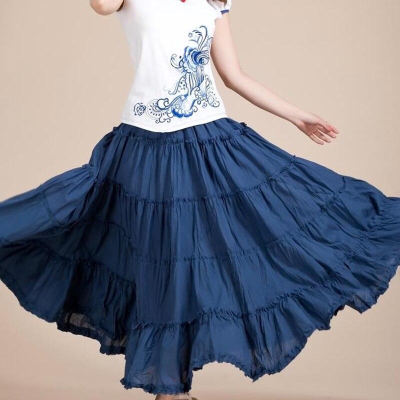 SexeMara Boho Korean Beach Mid Umbrella Long Skirts Summer Femininas Candy Color Maxi Chiffon Skirt Elastic Waist Pleated Skirts