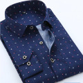 Summer New Mens Casual Shirts Fashion Long Sleeve Brand Printed Male Plus Size Formal Business Polka Dot Floral Men Dress Shirt