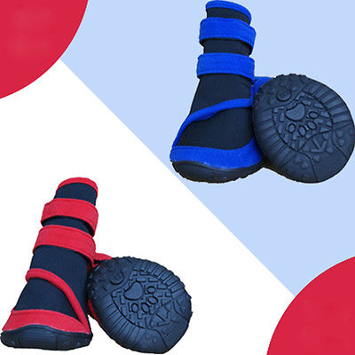1 set of 4pcs Pet Dogs Non-slip Oxford Shoes Boots Socks Design For Dog RED/BLUE + BLK