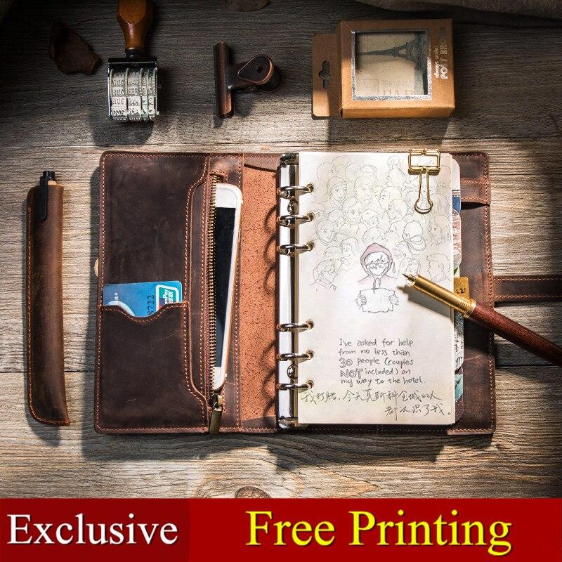 Multifonctionnel Vintage Conception En Cuir Cahier de voyage Voyage Journal journal À La Main 2019 bullet Journal planificateur bloc-notes a5