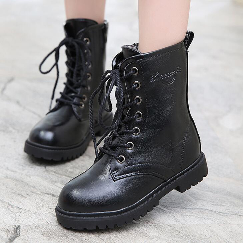 2016 New Snow Boots Kids Boys High Boots Black Colors Winter Boots Children's Shoes Girls Single Shoes children' s Martin boots high quality new arrival 2016 fashion autumn children shoes martin leather boots boys girls shoes kids scrub boots 5 colors