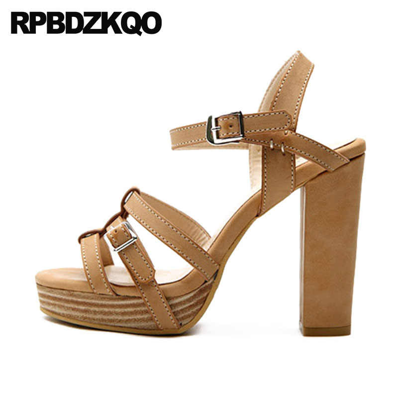351ee60a143 High Heels Women Strap Vintage Gladiator Sandals Thick Platform Shoes  Extreme Luxury Genuine Leather Strappy Pumps Brown Chunky