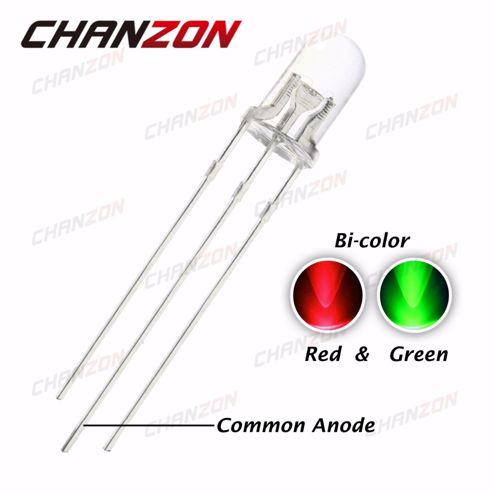 50PCS Dual Bi-Color Red Blue Bright 5mm 3Pin Water Clear bulb Led Common Anode