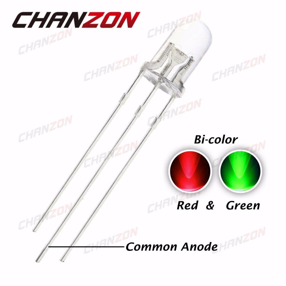 100 pces 5mm vermelho & verde bicolor led transparente 3 pinos ânodo comum super brilhante 5mm diodo emissor de luz conduziu a luz da lâmpada diy pcb