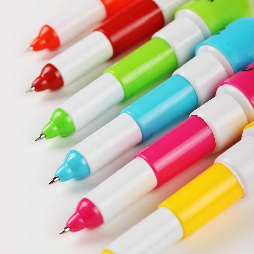 6 PCS חמוד פרצוף מחייך גלולת כדורי עט טלסקופי ויטמין קפסולת Ballpen משרד ציוד לבית ספר ילדים מתנה