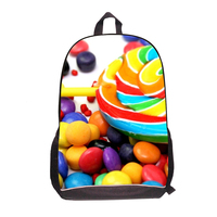 2017 Fashion school bags Women 3D Candy Print Ladies Casual Travel backpack Tote Girls school Bags Large Capacity Backpack