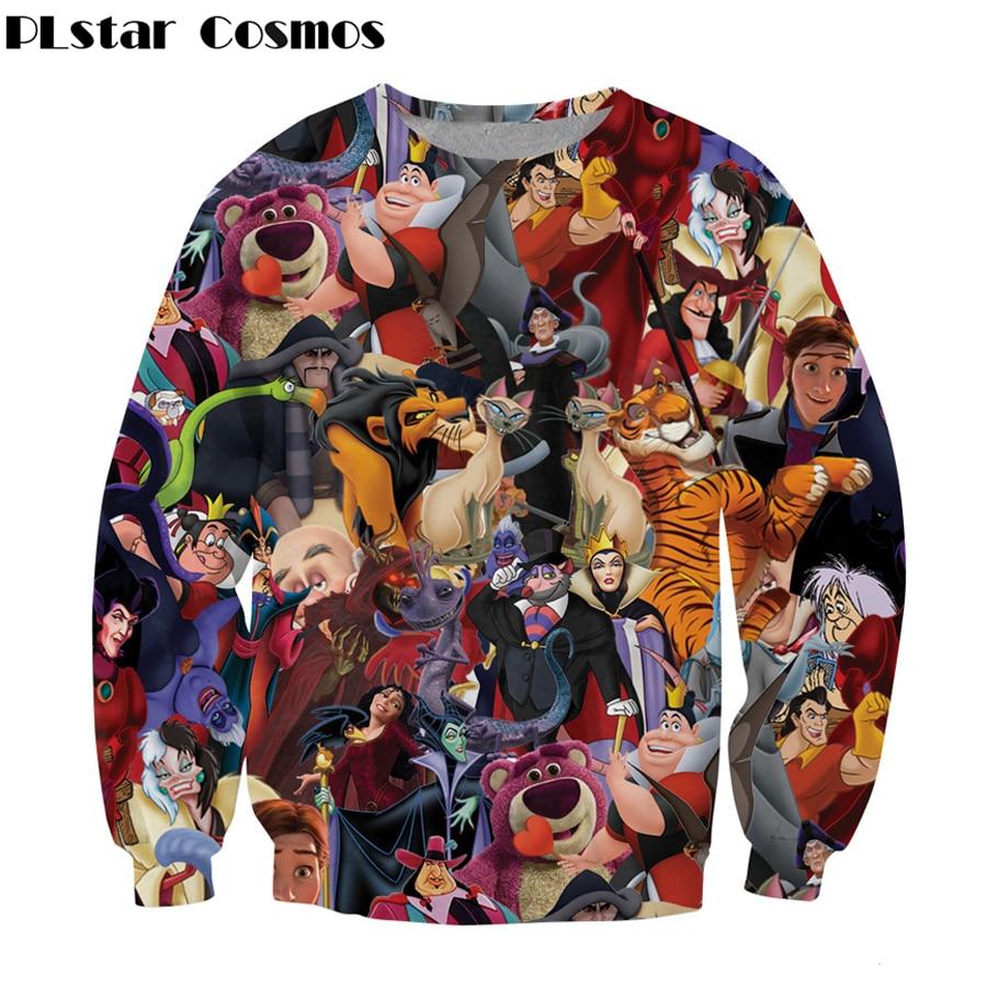 2019 Fashion Women/Men 3D Sweatshirt Cartoon Villains  Printed O-Neck Casual Long Sleeve Outwear Size S-5XL Free Shipping