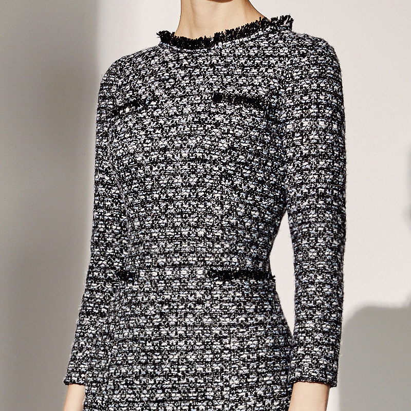 Femmes Femme Robe Professionnelles 2019 D'affaires Paquet hiver Automne Tweed Personnalisé Dames Multi De Pour Hanche w1BqrwaA