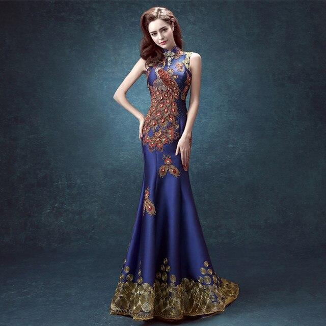 9512ecf59 Lujo Elegante Larga Sirena Cuello Alto Bordado Phoenix Pavo Real Vestidos  de Noche Formal Del Partido