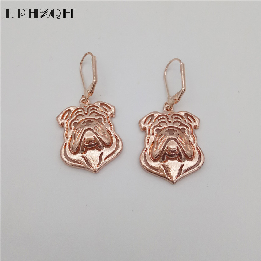 LPHZQH 2017 Fashion alloy cute dog English Bulldog Earings For Women girl lovers jewelry unique Christmas birthday gift jewelry