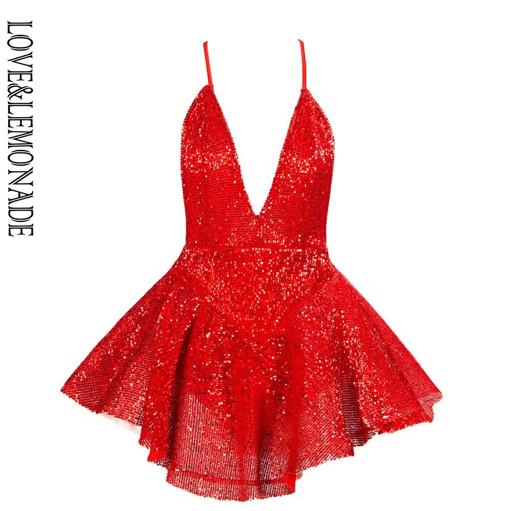 Love Lemonade Sexy Deep V Neck Open Back Ballet Style Sequins Playsuit LM81619 RED