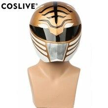 Coslive White Ranger полный голову шлем Хэллоуин маска Косплэй реквизит костюм аксессуар для Мощность Рейнджерс