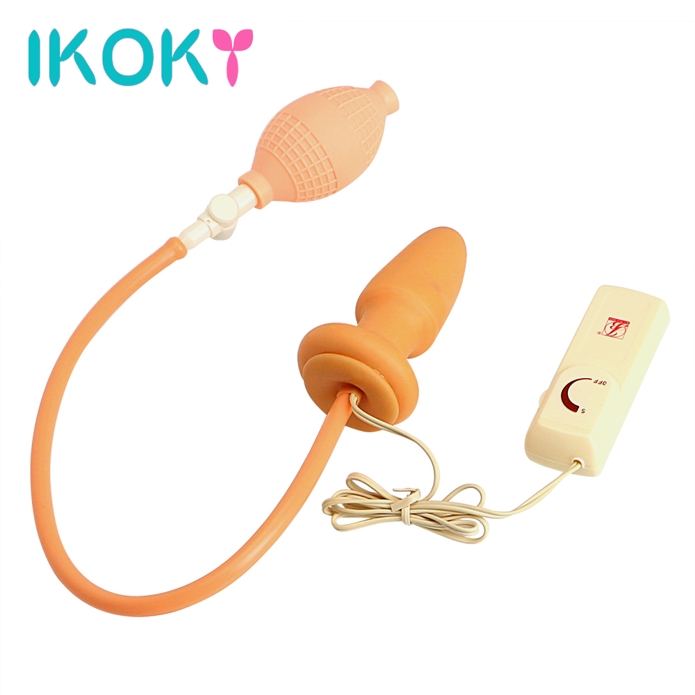 IKOKY Inflatable Butt Plug Adult Products Anus Sex toys for Women Men Gay Silicone Anal Vibrator Anal plug Prostate Massage 140g stainless steel anal hooks metal butt plug with 2 balls gay sex toys adult products for men and women massage