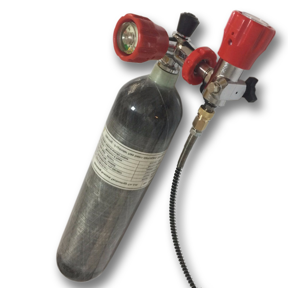 AC102101Hot 2L 4500psi 300bar Pcp Carbon Fiber Composite Gas Cylinder With Red Valve And Fill Station For Pcp Paintball Tank-Q