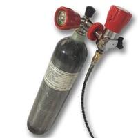 Ac102101hot 2l 4500psi 300bar pcp cilindro de gás composto de fibra de carbono com válvula vermelha e estação de enchimento para tanque de paintball pcp-q