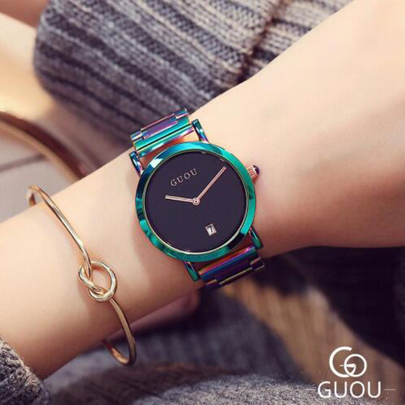 GUOU Watch Luxury Ladies Quartz Watch Fashion Colorful Full Steel Watch Women Auto Date Watch Clock relogio relojes mujer 2018 guou watch women luxury rose gold ladies watch auto date full steel quartz watch wristwatch fashion reloj mujer relogio feminino