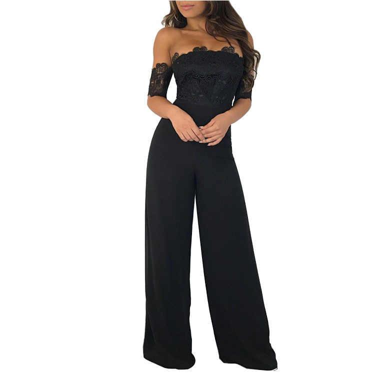 Sexy Body Catsuit algodón Real Rushed Body 2019 mujeres envío gratis Color sólido palabra Collar mono pierna ancha Pantalones de mujer