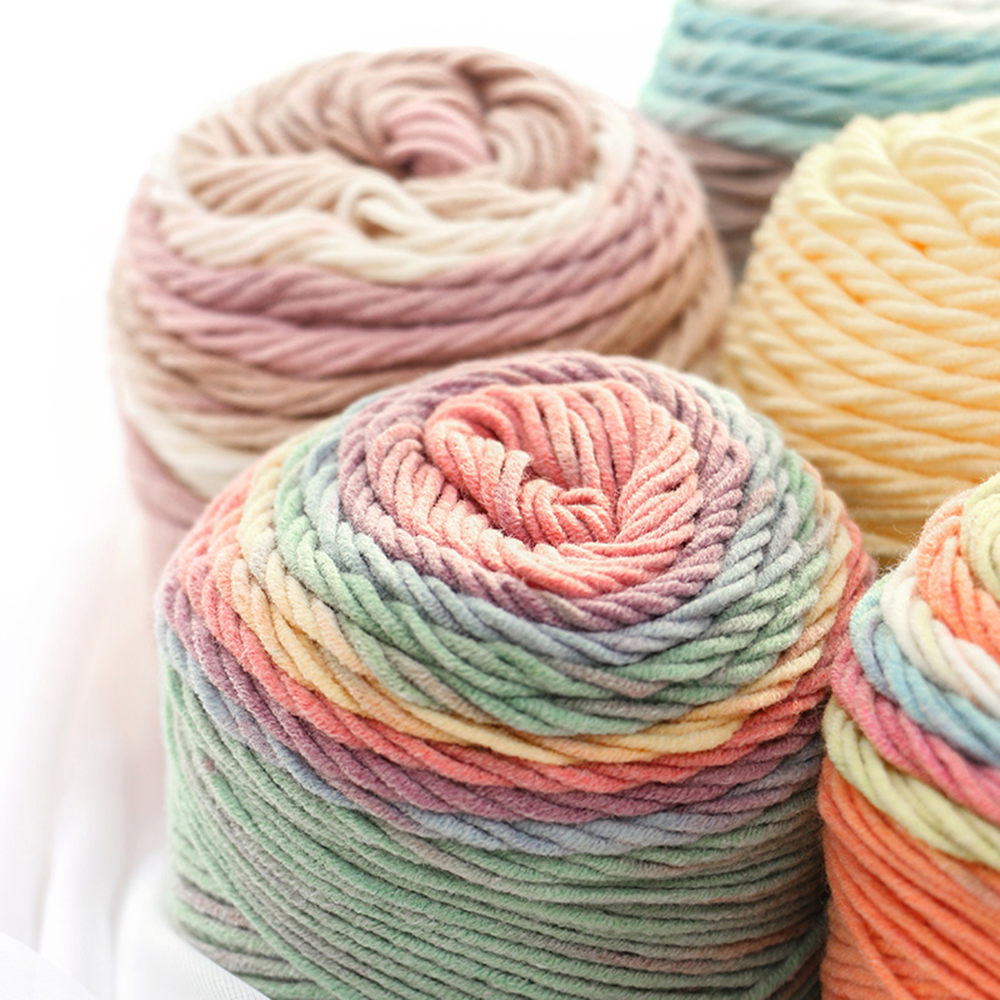100g Solid/Rainbow Color Hand-woven Cotton Yarn Soft Crochet Thick Yarn For Hand Knitting Warm Sweater Sofa Cushion Scarf DIY