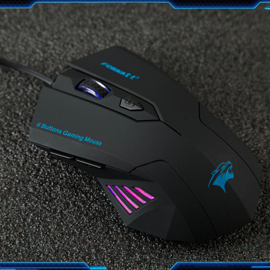 Forka Ergonomic Frosted Wired Gaming Mouse 6Buttons 2400DPI Adjustable Silent Click Optical USB Computer Mouse for