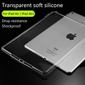 Para apple ipad 5/6/ipad air//air2 tpu suave cubierta de la caja crystal clear transparent ultra thin shell tablet accesorios