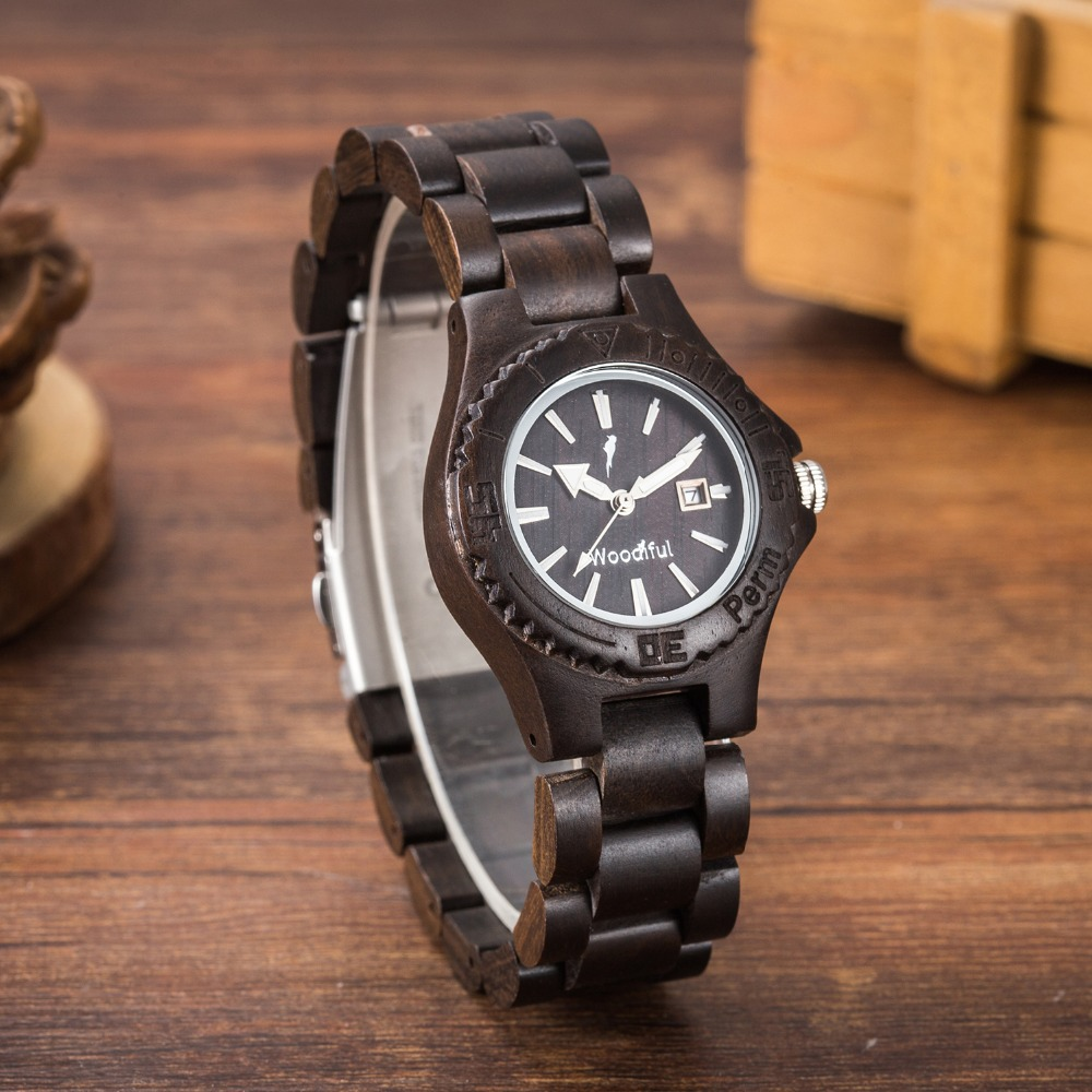 Newest Luxury EBony Zebra Wooden Watches Creative Wood Watch Women Simple Dial Display Date Quartz Watches Sandalwood Wooden black coffee dial zebra wood watch men quartz modern bamboo wooden creative watches 2017 new arrival handmade simple clock gift