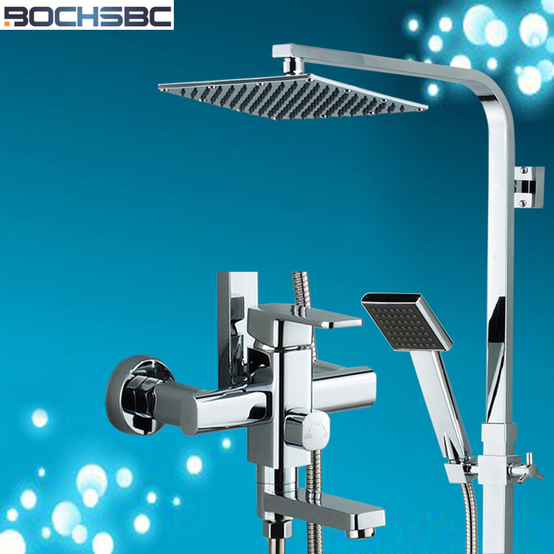BOCHSBC Shower Set Full Copper Bathroom Shower Set Hot and Cold Shower Suite Modern Fashion Lotus Shower Head Set
