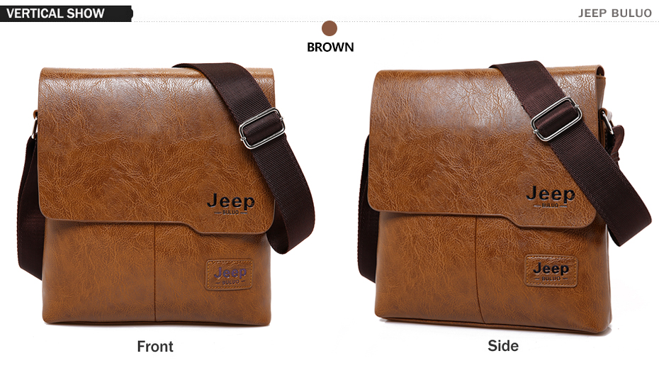 JEEP BULUO Man Messenger Bag 2 Set Men Pu Leather Shoulder Bags Business  Crossbody Casual Bag Famous Brand ZH1505 8068 382608f7d7813
