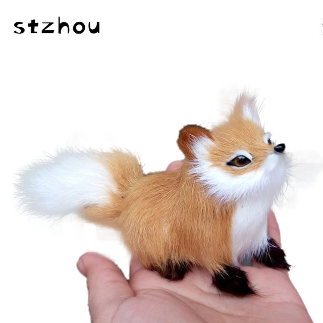 12*5*7cm simulation brown fox toy polyethylene & furs squatting fox model home decoration birthday gift t056