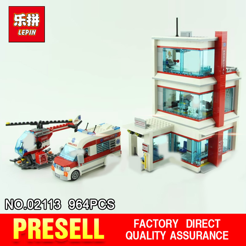 Lepin 02113 964Pcs City Series The 60204 City Hospital Set Building Blocks Bricks Educational Kids Toys As Birthday Gifts Model
