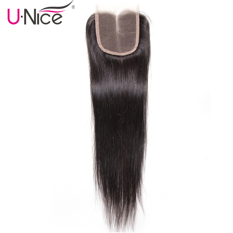 UNICE HAIR Middle Part Malaysian Straight Hair Closure 4 x4 Remy Human Hair Lace Closure 120