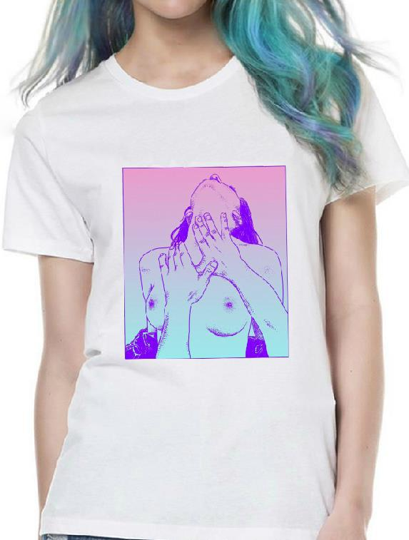 Harajuku Nude Girl Print Women Tshirt Cotton Casual Shirt White Lady Top Tee Big Size Hipster HH305-412