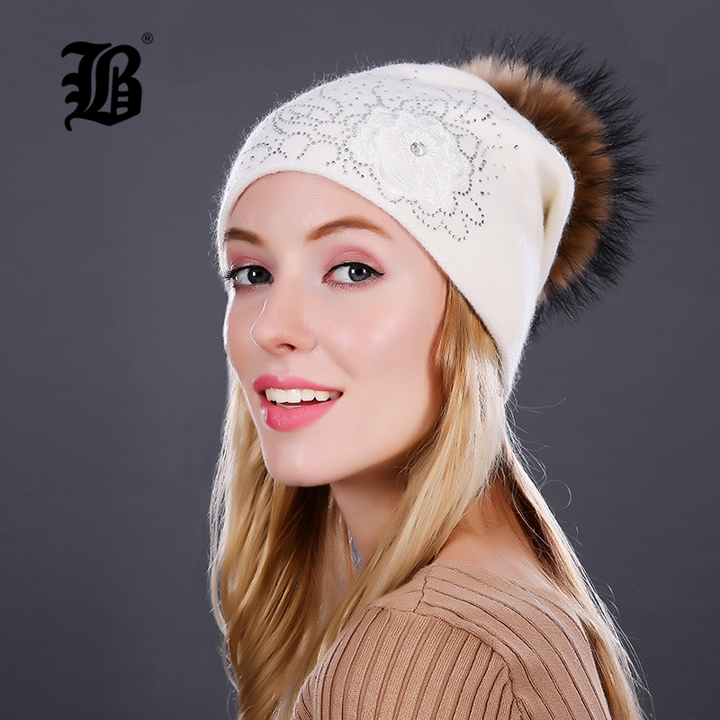 [FLB] Knitting Wool Hats 2018 Raccoon Fur Pom Pom Bobble Hats Women   Skullies     Beanies   Warm Autumn Cap Winter Hat FemaleFLBMX17013