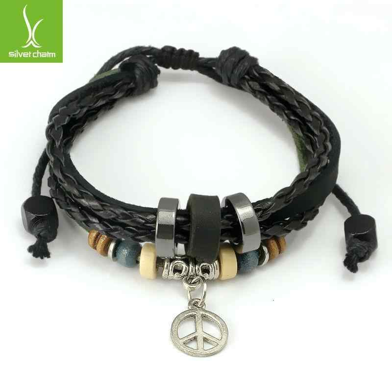 Szybka wysyłka Wrap czarna skórzana bransoletka z plecionym dla kochanka Metal liść Charms dla kobiet mężczyzn moda kochanka bransoletka PI0276