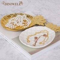 DINIWELL Nordic Style Ceramica Forma di Ananas Gioielli Vassoio di Storage Desktop Di Casa Organizzatore