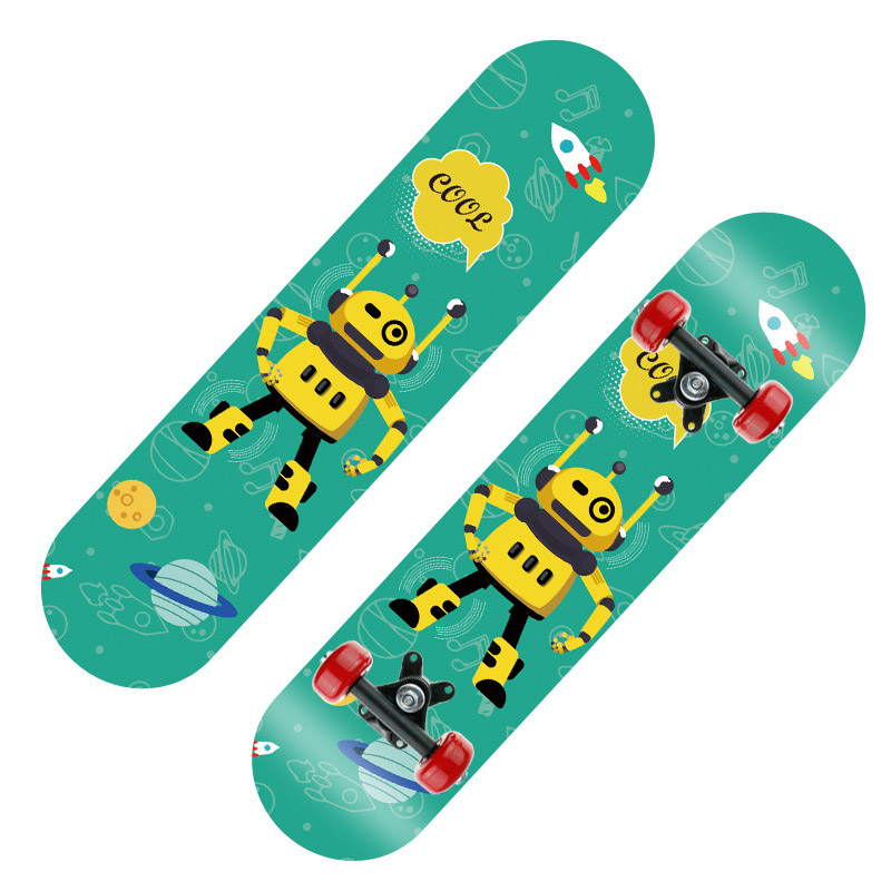 1.4kg Thick Wooden Board 60*15cm Double Rocker Skateboard PVC Four-wheeled Skateboard  Adolescents Universal Scooter Maple Wood