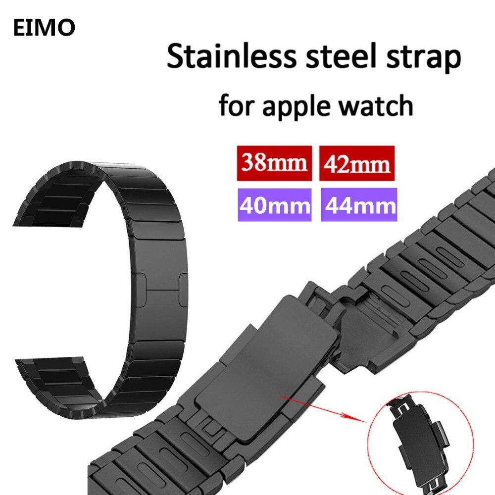 Ссылка Браслет ремешок для Apple Watch 4/3/44 мм 40 мм группа Нержавеющаясталь металлической пряжкой ремешок iwatch серии 42 мм 38 мм
