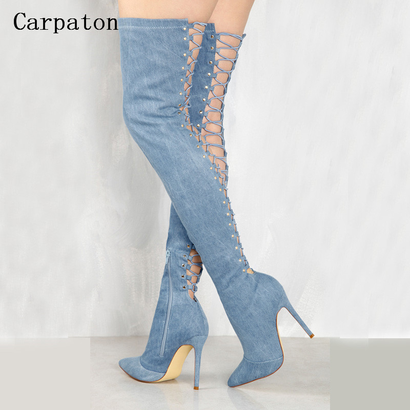 New Fashion Women Over the Knee Boots Pointed Toe Back Cut-Out Lace-Up Denim High Heel Gladiator Boots Sexy Slim Long Jean Boots new sexy heels punk style lace up stiletto thigh high boots women sexy pointed toe cut out over the knee gladiator boots