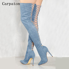 New Fashion Women Over the Knee Boots Pointed Toe Back Cut-Out Lace-Up Denim High Heel Gladiator Boots Sexy Slim Long Jean Boots