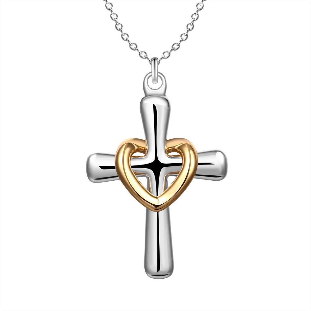 Beautiful Golden Heart Design Silver Cross Pendant Necklace Fashion Jewelry Classic wedding gift for woman good quality